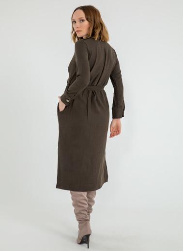 Foremia Yanı Yırtmaçlı Ceket Yaka Elbise Haki